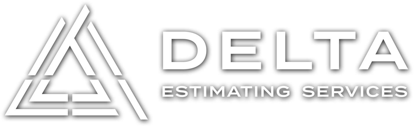 Delta Estimating Services Logo White Dropshadow Retina